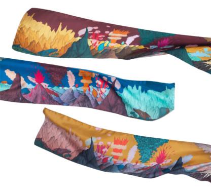 Trois foulards Volcans de Céline Dominiak
