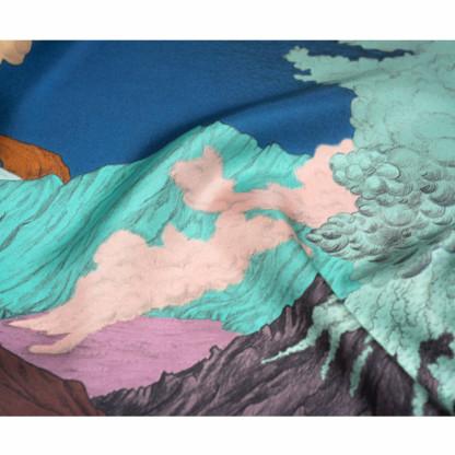 Détail foulard Volcans bleu de Céline Dominiak