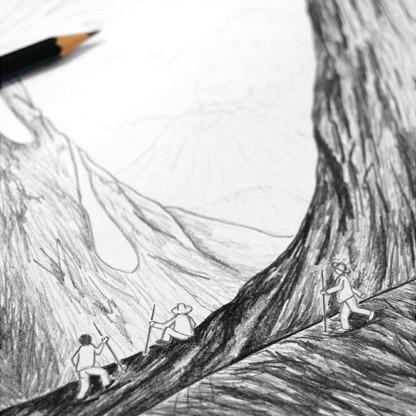 Détail croquis dessin Volcans de Céline Dominiak