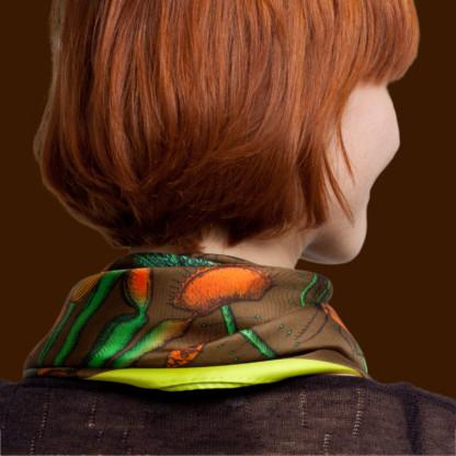 détail foulard en soie couleur café de céline Dominiak