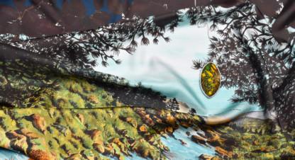 Détail foulard Rivière de la collection Paradis Perdus - Céline Dominiak