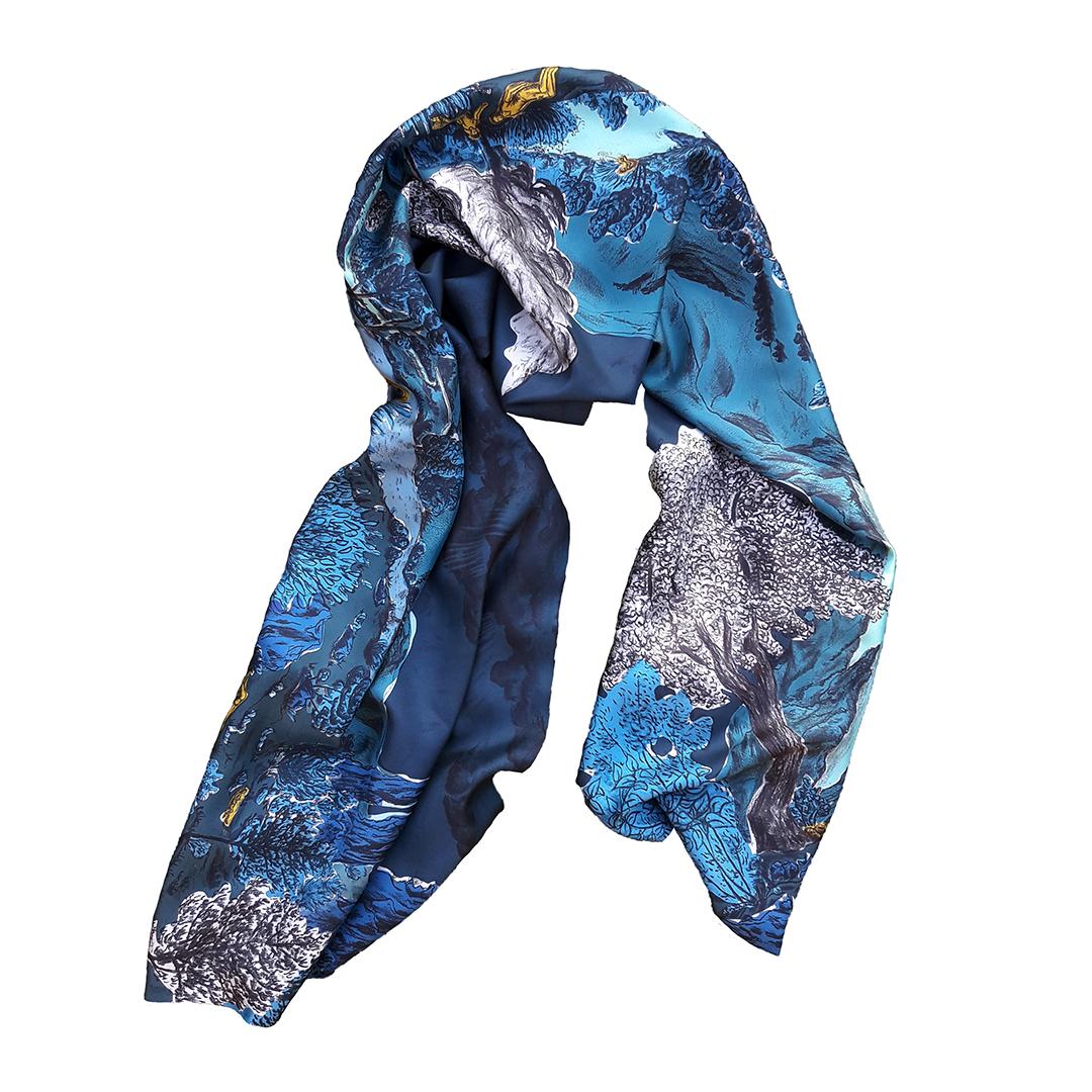 Foulard twill de soie Dormeurs Bleu
