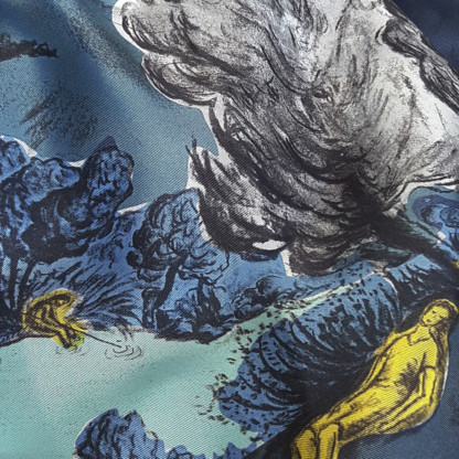 Détail foulard twill de soie Dormeurs Bleu