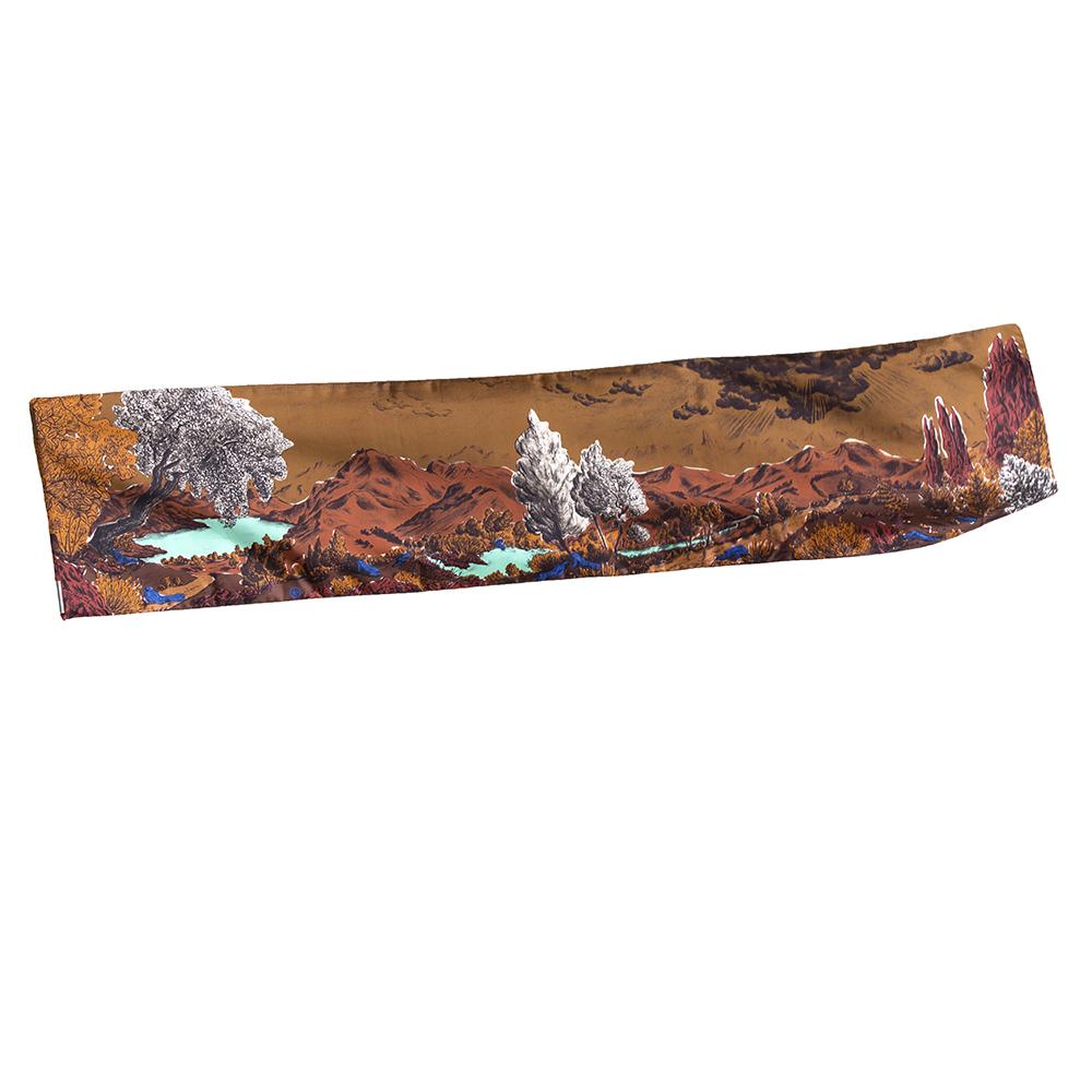 Vue entière foulard twill de soie Dormeurs Caramel