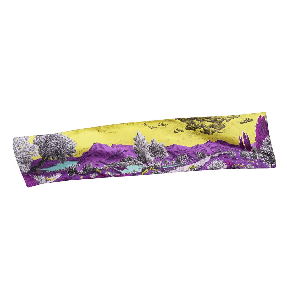 Écharpe en soie vue entière Dormeurs jaune violet Céline Dominiak
