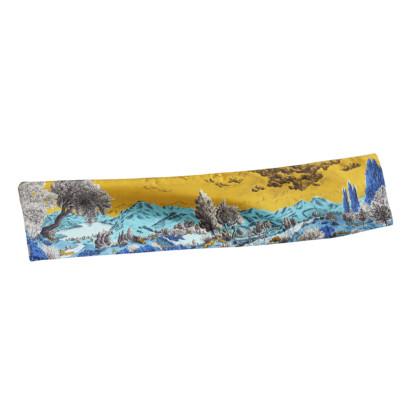 Foulard twill de soie Dormeurs Or Bleu