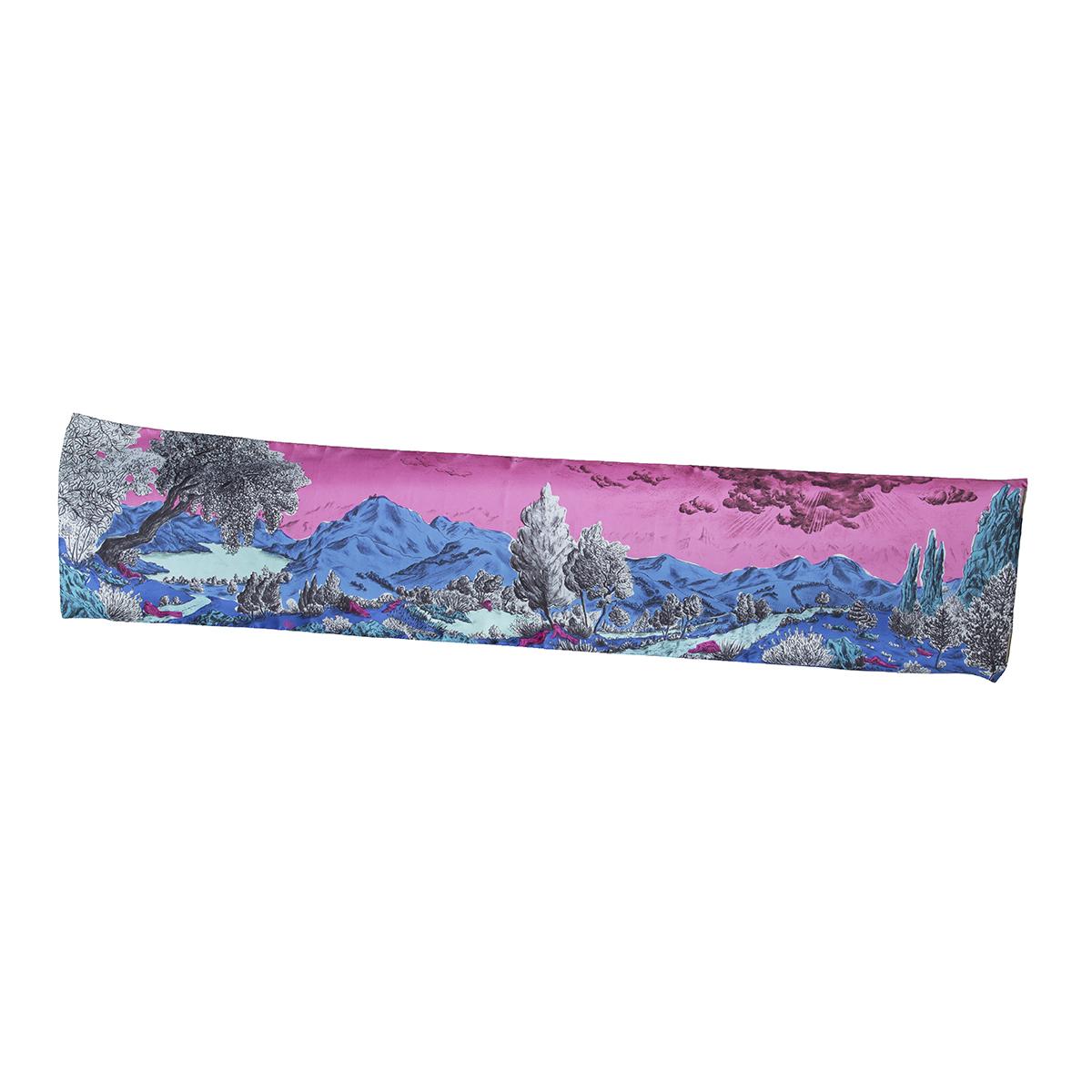 Foulard twill de soie Dormeurs Rose Bleu