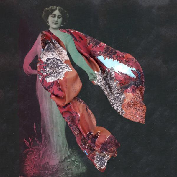 Photographie noir et blanc d'une femme de la belle époque jouant avec un grand foulard rouge - photomontage