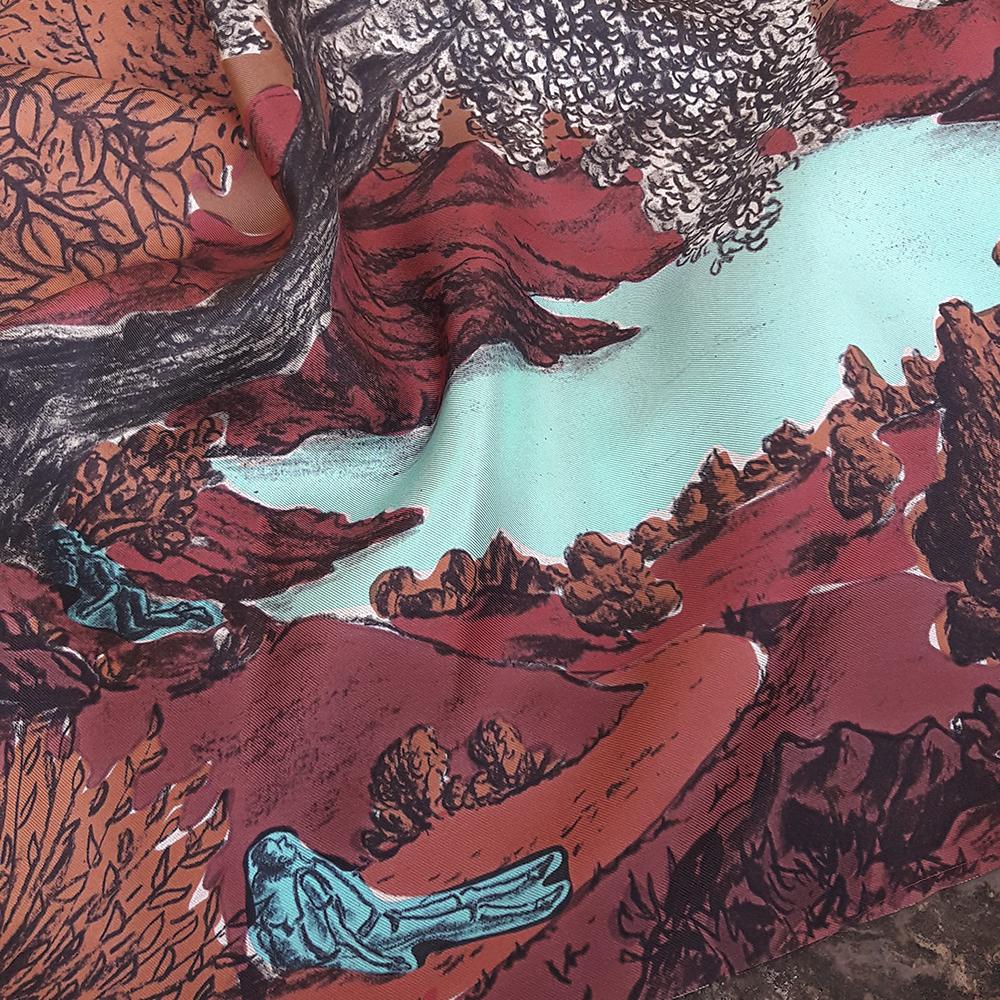 Détail foulard twill de soie Dormeurs Rouge
