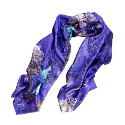 Foulard en soie fond blanc Collection Dormeurs Violet - Céline Dominiak