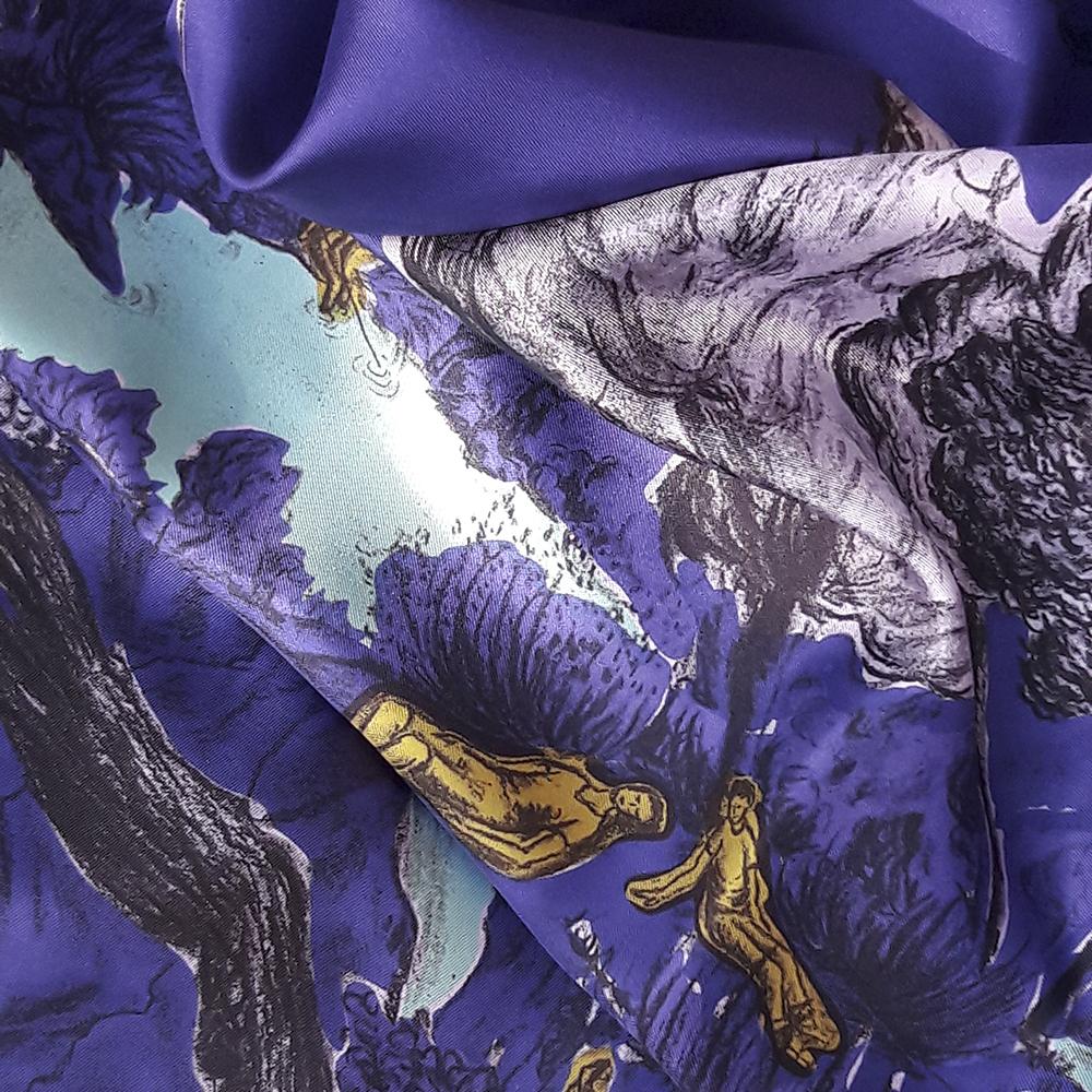 Détail foulard twill de soie Dormeurs Violet