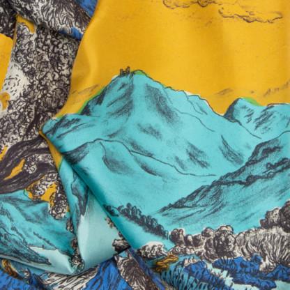 Détail foulard en soie Dormeurs or et bleu