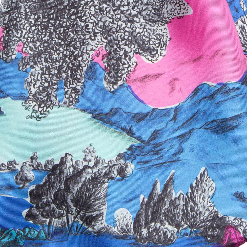 Détail foulard en soie Dormeurs Rose et bleu - Céline Dominiak