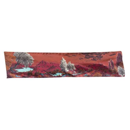 Vue entière foulard twill de soie Dormeurs Rouge