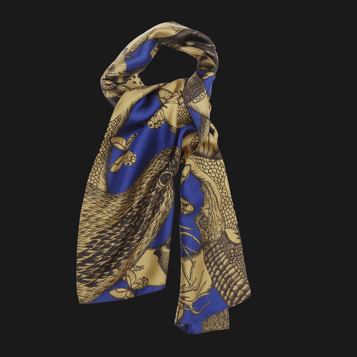 Foulard en soie animalis noué, couleur kaki et bleu - Céline Dominiak