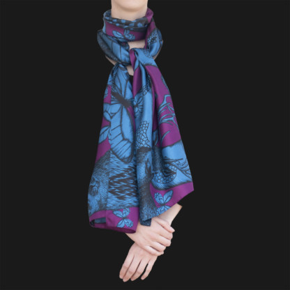 Foulard soie Animalis L bleu violet - Céline Dominiak