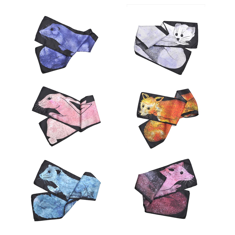 6 foulard en soie collection Fourrures de Céline Dominiak