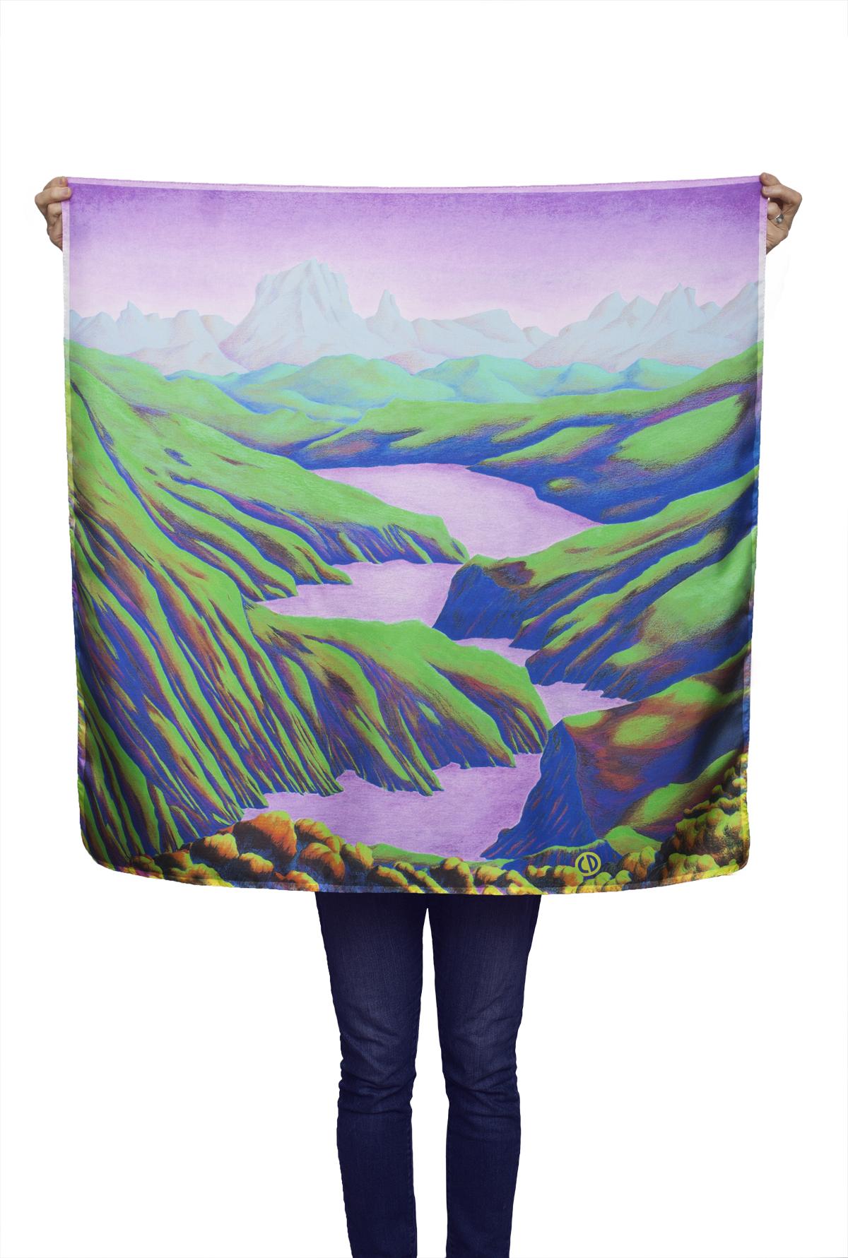 Foulard -paysage sur soie de Céline Dominiak