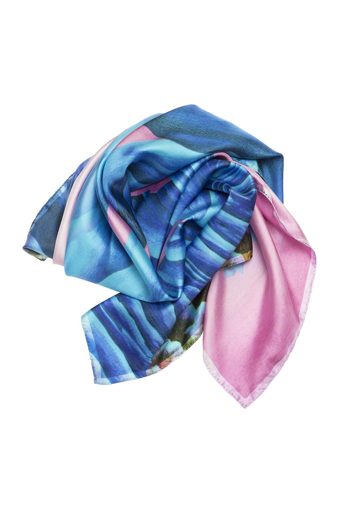 Détail foulard Rêves Martiens bleu - Céline Dominiak