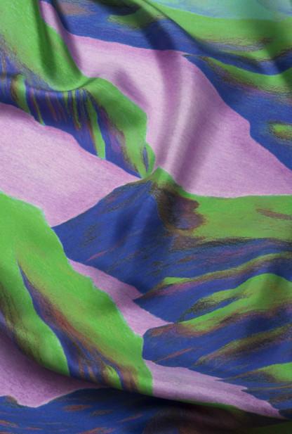Détail folard en soie vert et violet de Céline Dominiak