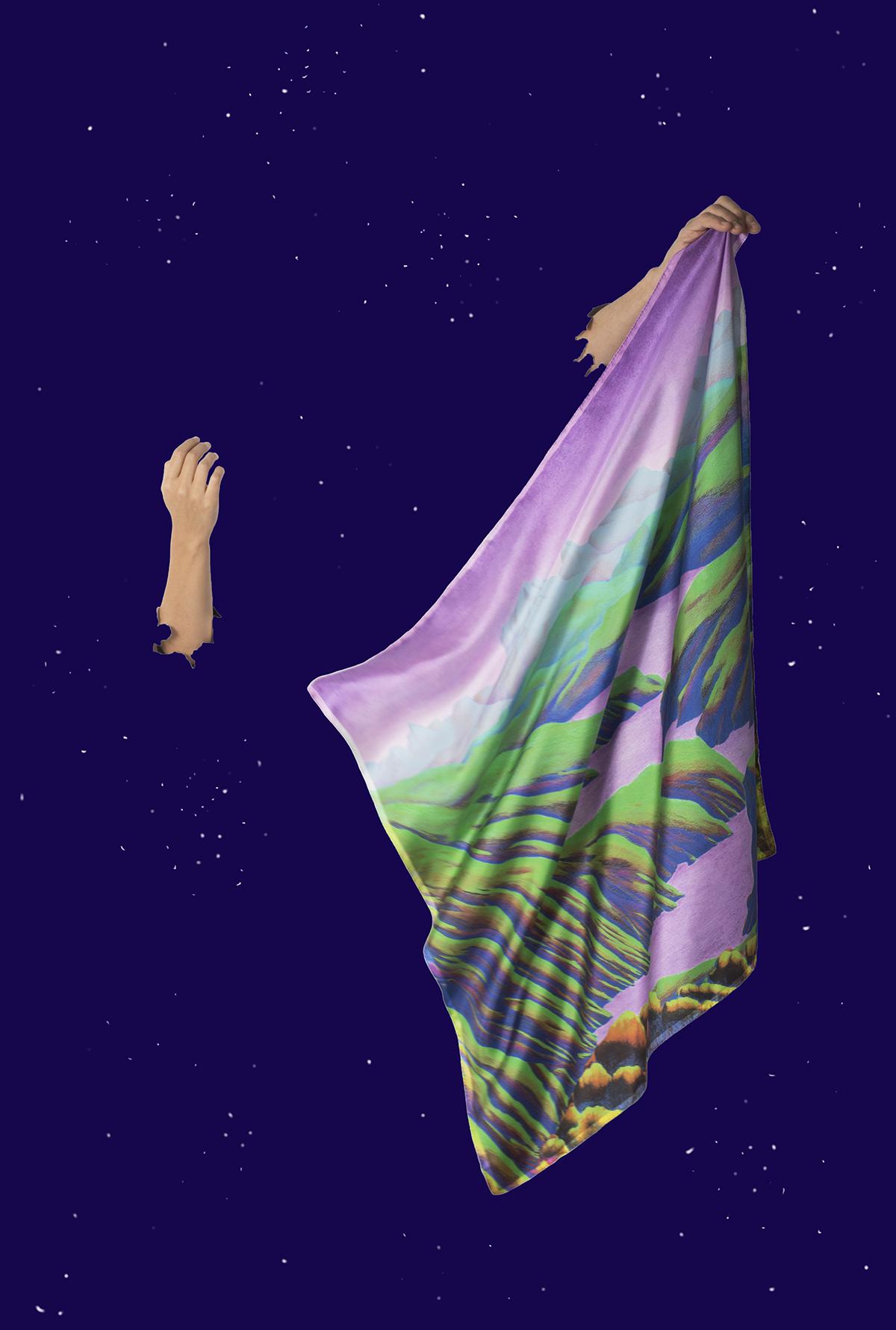 Foulard en soie vert et violet de Céline Dominiak