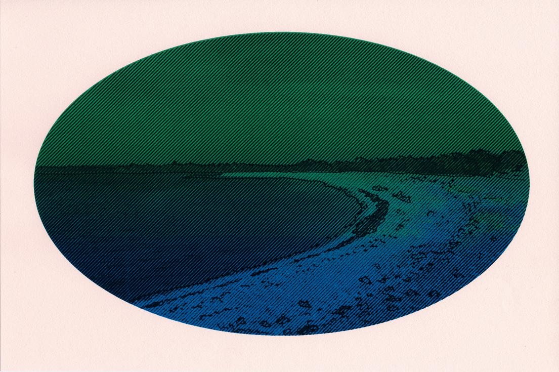 sérigraphie paysage dégradé vert et bleu - Céline Dominiak