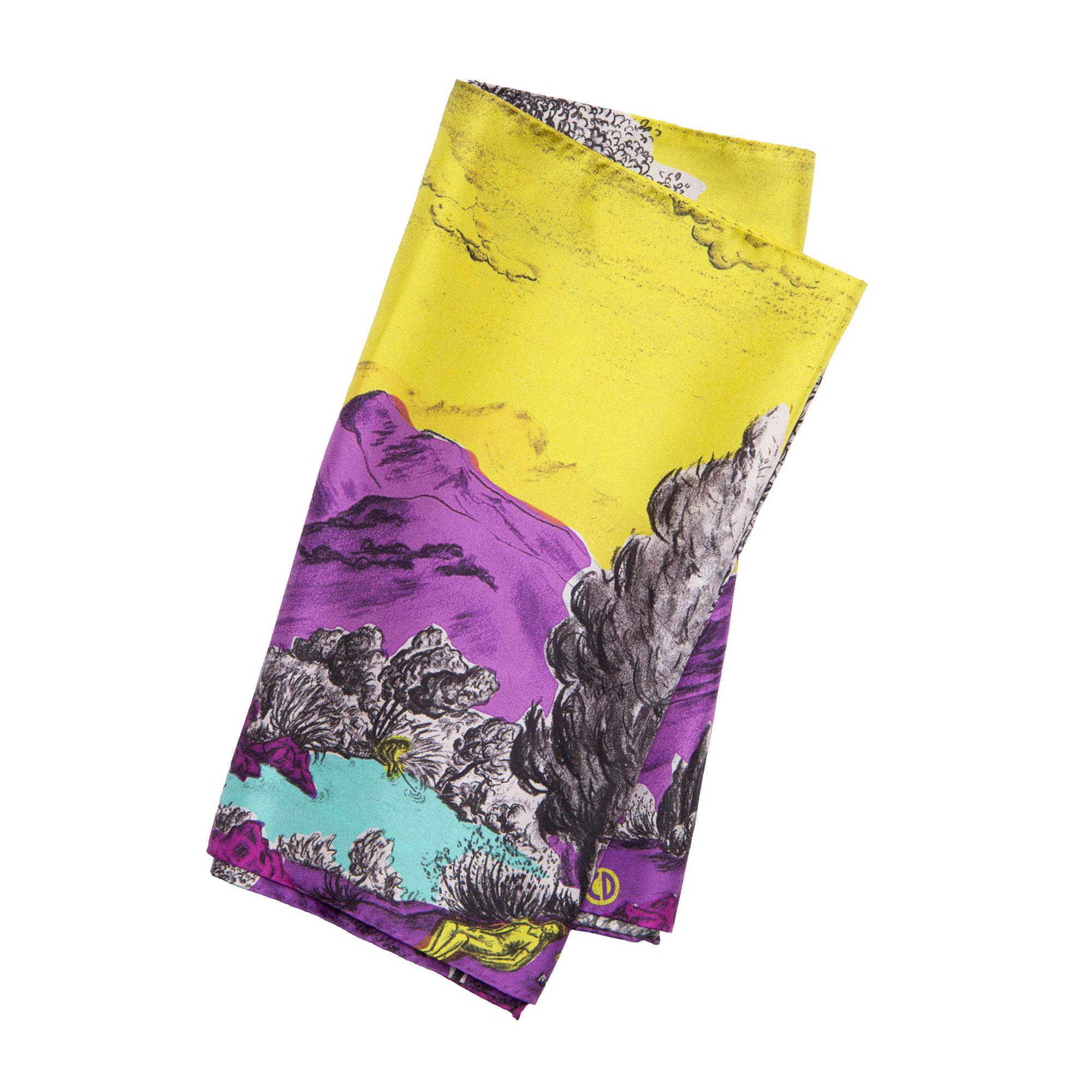 Écharpe en soie Dormeurs jaune violet Céline Dominiak
