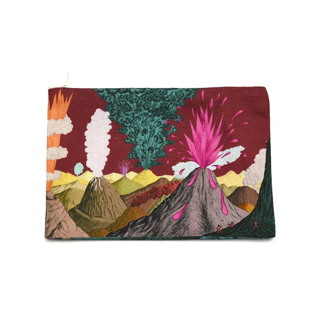 Pochette en tissu Volcans Prune taille M Recto