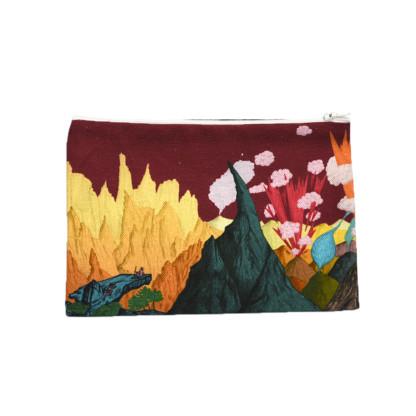 Pochette en tissu Volcans Prune taille M Verso - Céline Dominiak