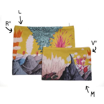 Deux pochettes à zip en coton et lin motif dessiné ciel Jaune