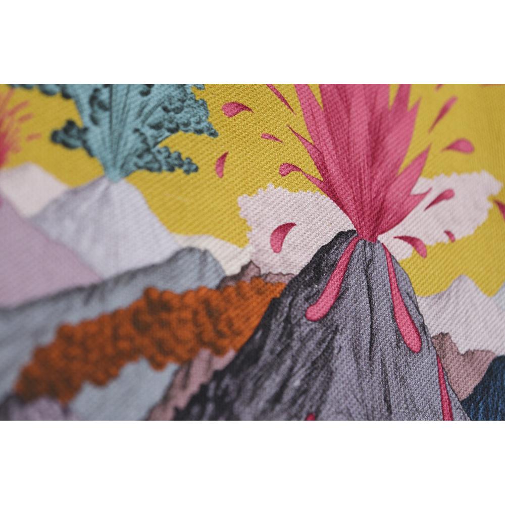 Détail coton et lin motif dessiné ciel Jaune