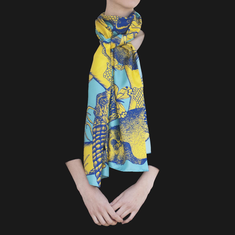 Foulard soie Animalis L jaune bleu - Céline Dominiak