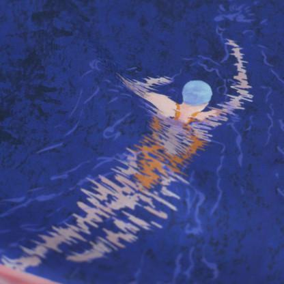 Détail foulard bleu twill de soie Nageuses - Céline Dominiak