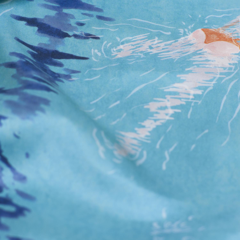 Détail foulard twill de soie Nageuses Turquoise - Céline Dominiak