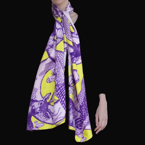 Foulard soie Animalis L violet anis- Céline Dominiak