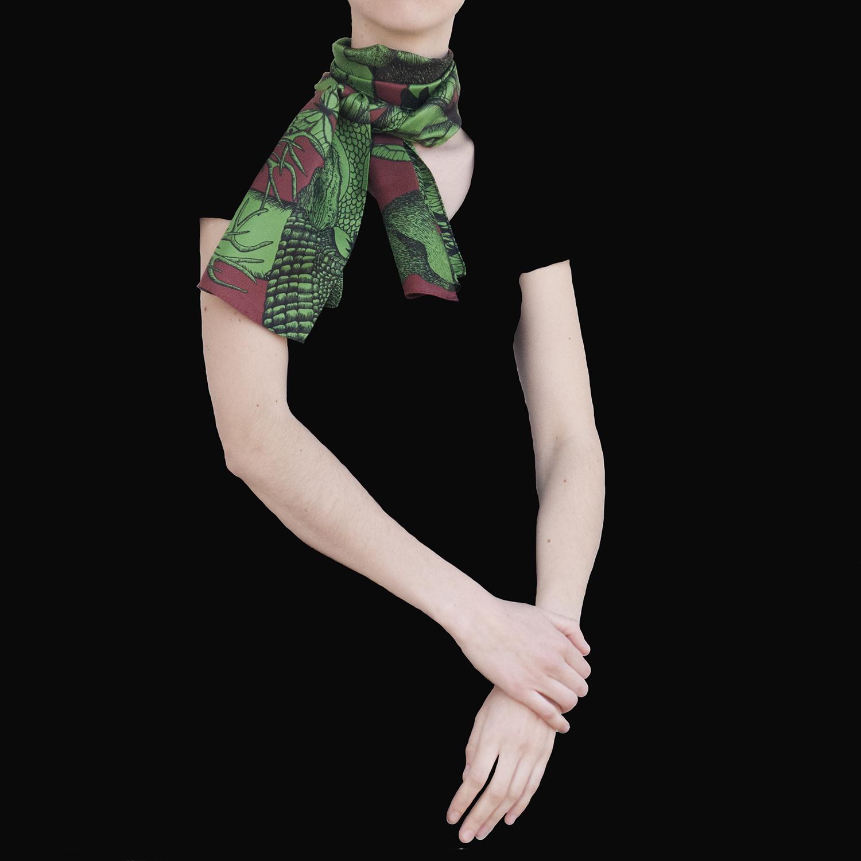Foulard soie Animalis M vert marron - Céline Dominiak