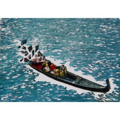 Mirages 5 - carte postale dont le papier a été arraché (gondole à Venise)