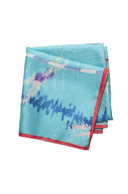 Foulard carré en soie, 90x90 cm, Collection Nageuse, bleu turquoise