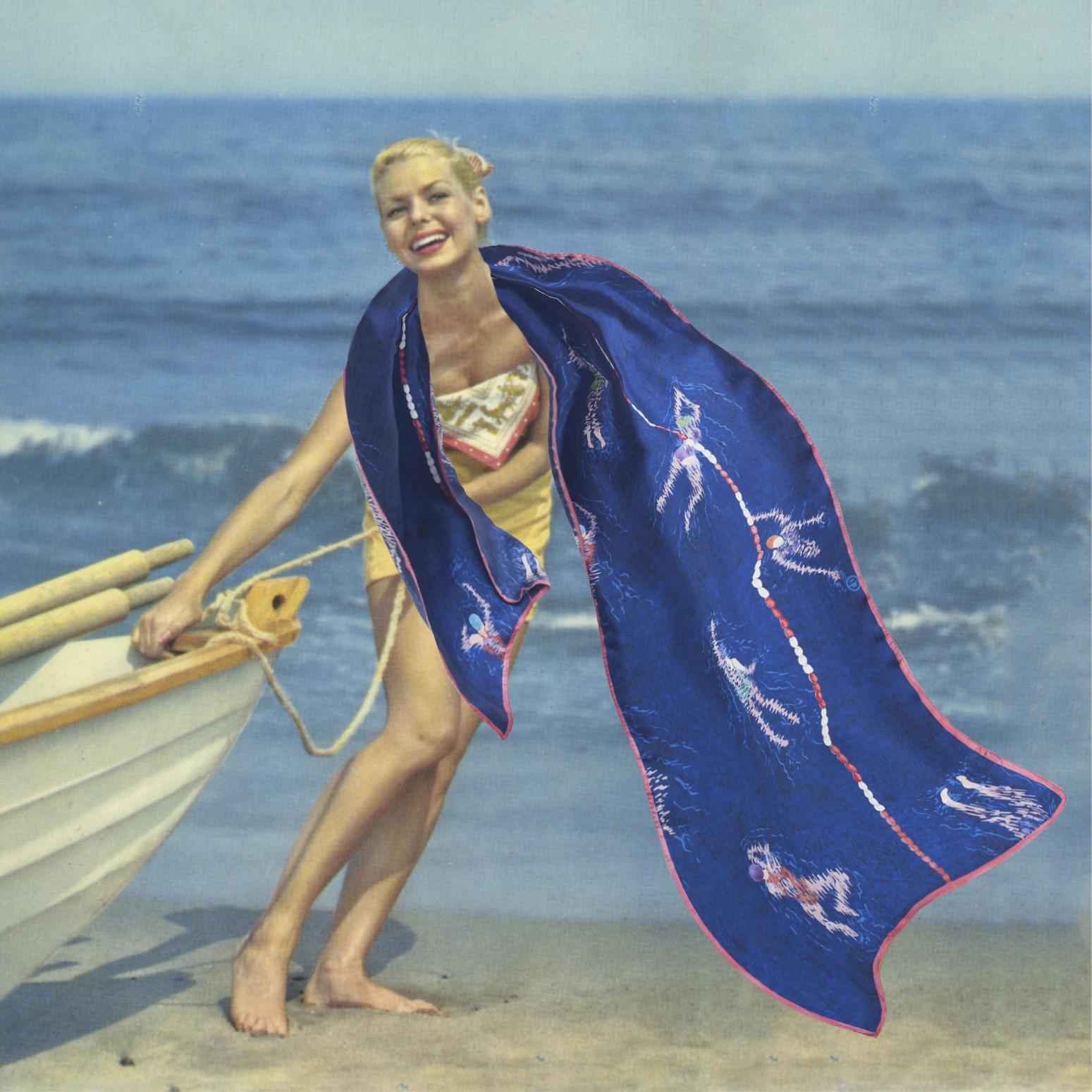 Photomontage d'une pin up années 50 avec un foulard bleu
