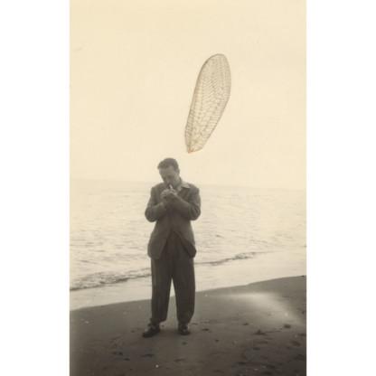 Collage d'un aile d'insecte sur uenphotograpie noir et blanc, formant la fumée d'une cigarette qu'un homme allume