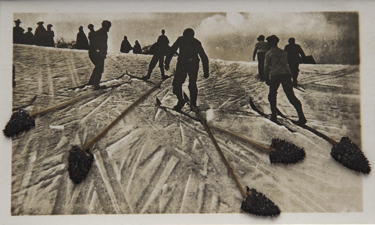 Collage sur photographie anonyme. groupe de skieurs en contrejour dont les traces se prolongent avec des tiges de fleurs séchées.