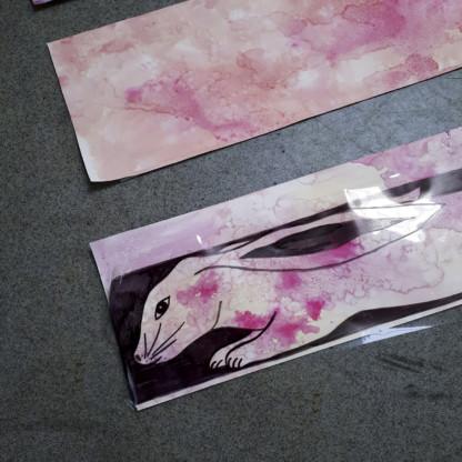 Essais couleur pour le lapin de la colelction de foulard en soie de Céline Dominiak