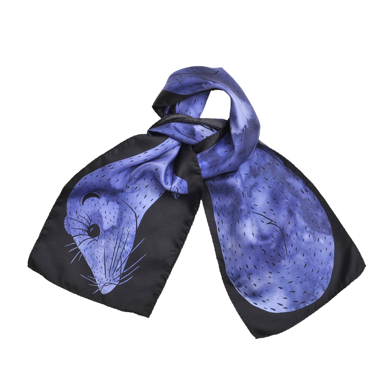 Foulard en soie Céline Dominiak noué vison bleu noir