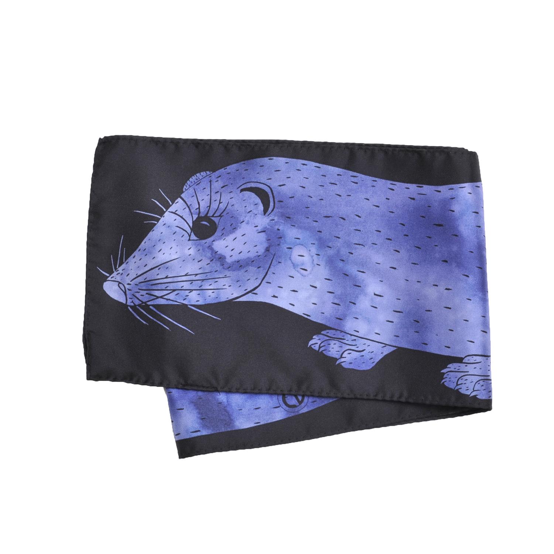 Foulard en soie Céline Dominiak plié vison bleu noir
