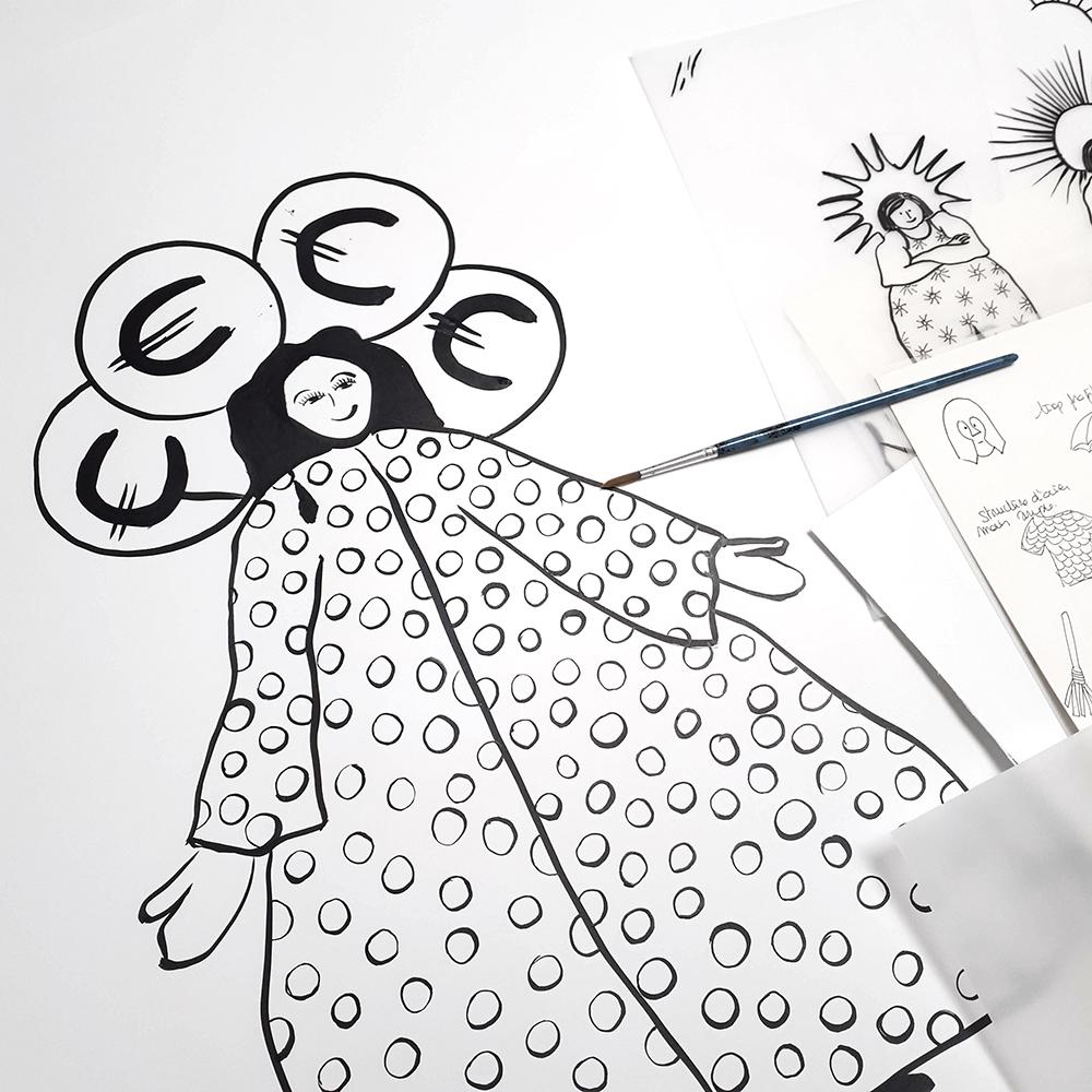dessin déesse de l'argent par Céline Dominiak