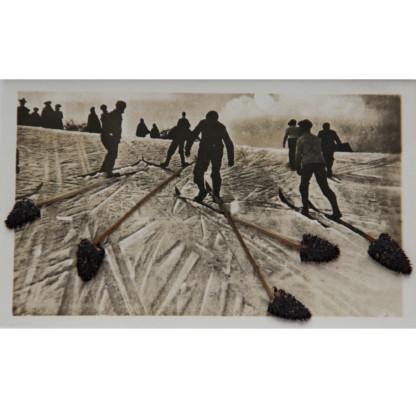 Photographie noir et blanc de skieurs vus de dos, dont les skis se prolongent avec des tiges de fleurs séchées