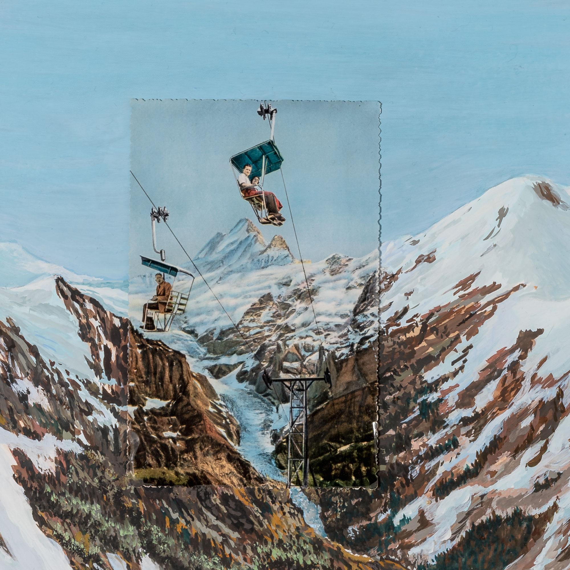 Détail carte postale Foulard collection paradis perdus Montagne Céline Dominiak