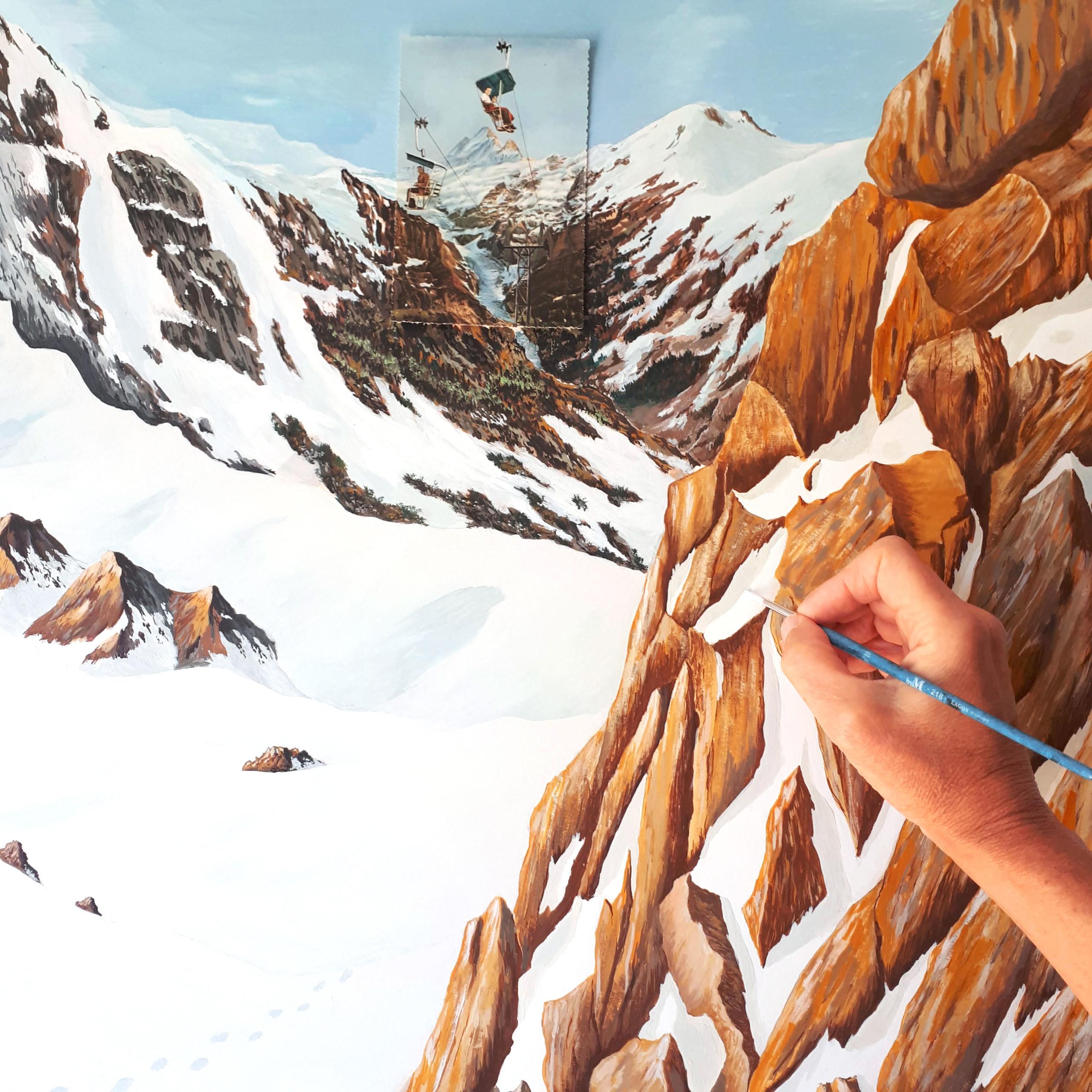 Détail work in progress Foulard paradis perdus Montagne Céline Dominiak