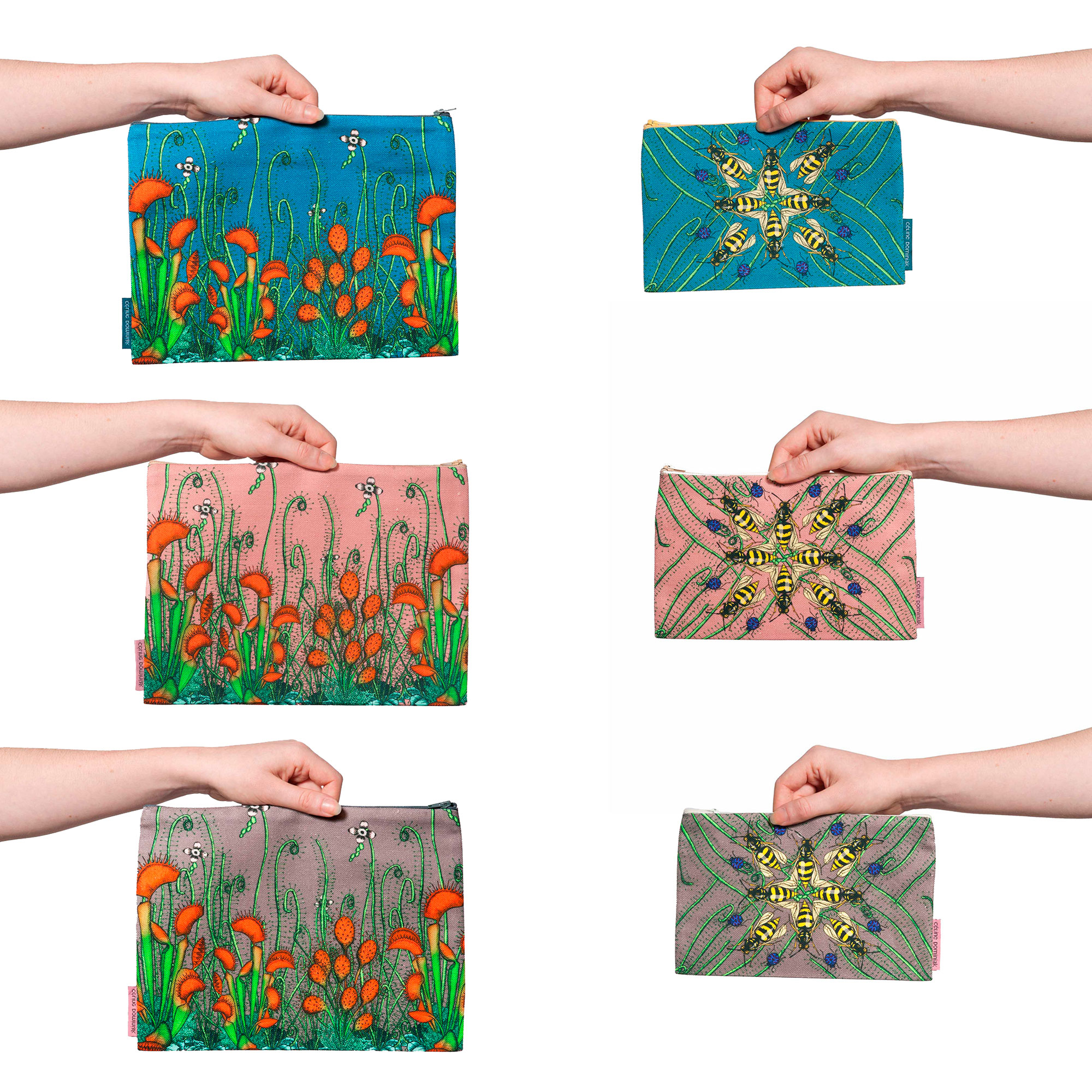 Six pochettes tailles M et L de la collection Carnivore de Céline Dominiak, motifs insectes et plantes carnivores sur fond colorés