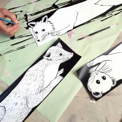 Processus de création - encore de chine, foulards fourrures - Céline dominiak